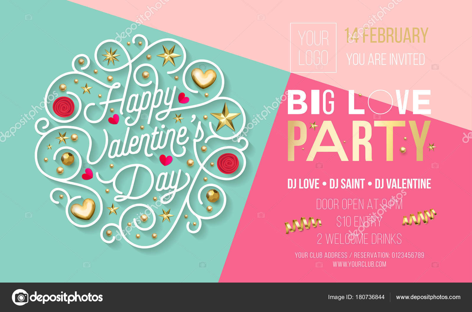Valentine Day party invitation design template of golden text and ...