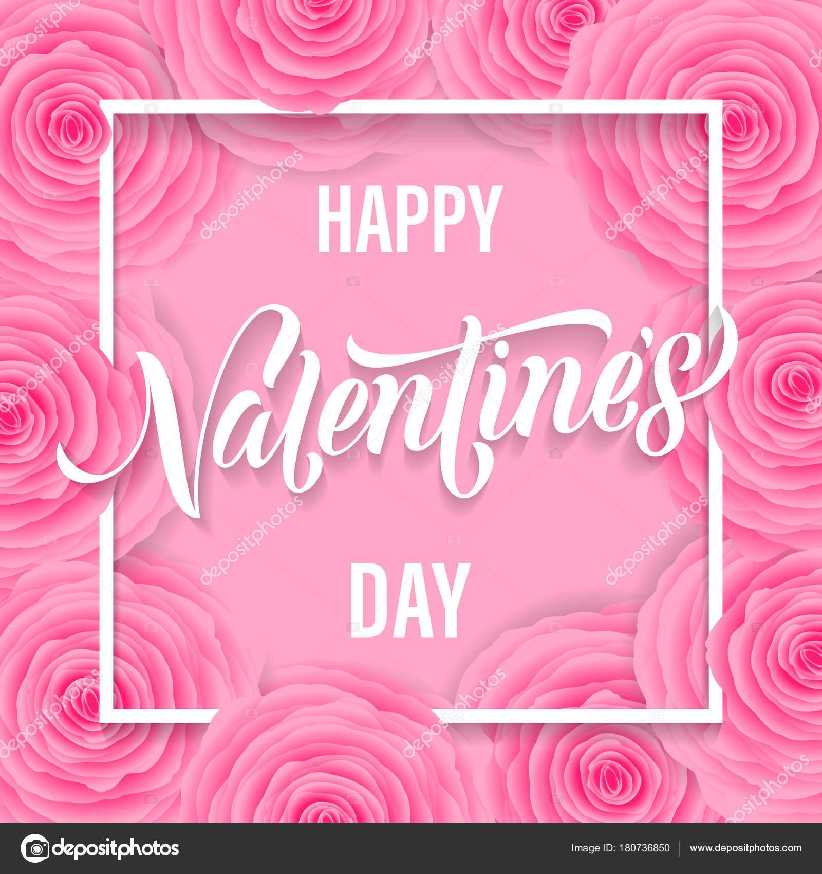 Feliz día de San Valentín Letras texto en flor color de rosa color ...