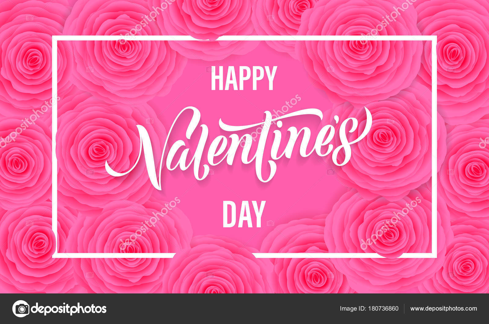 Happy Valentine Day Floral Greeting Card Of Pink Roses Pattern