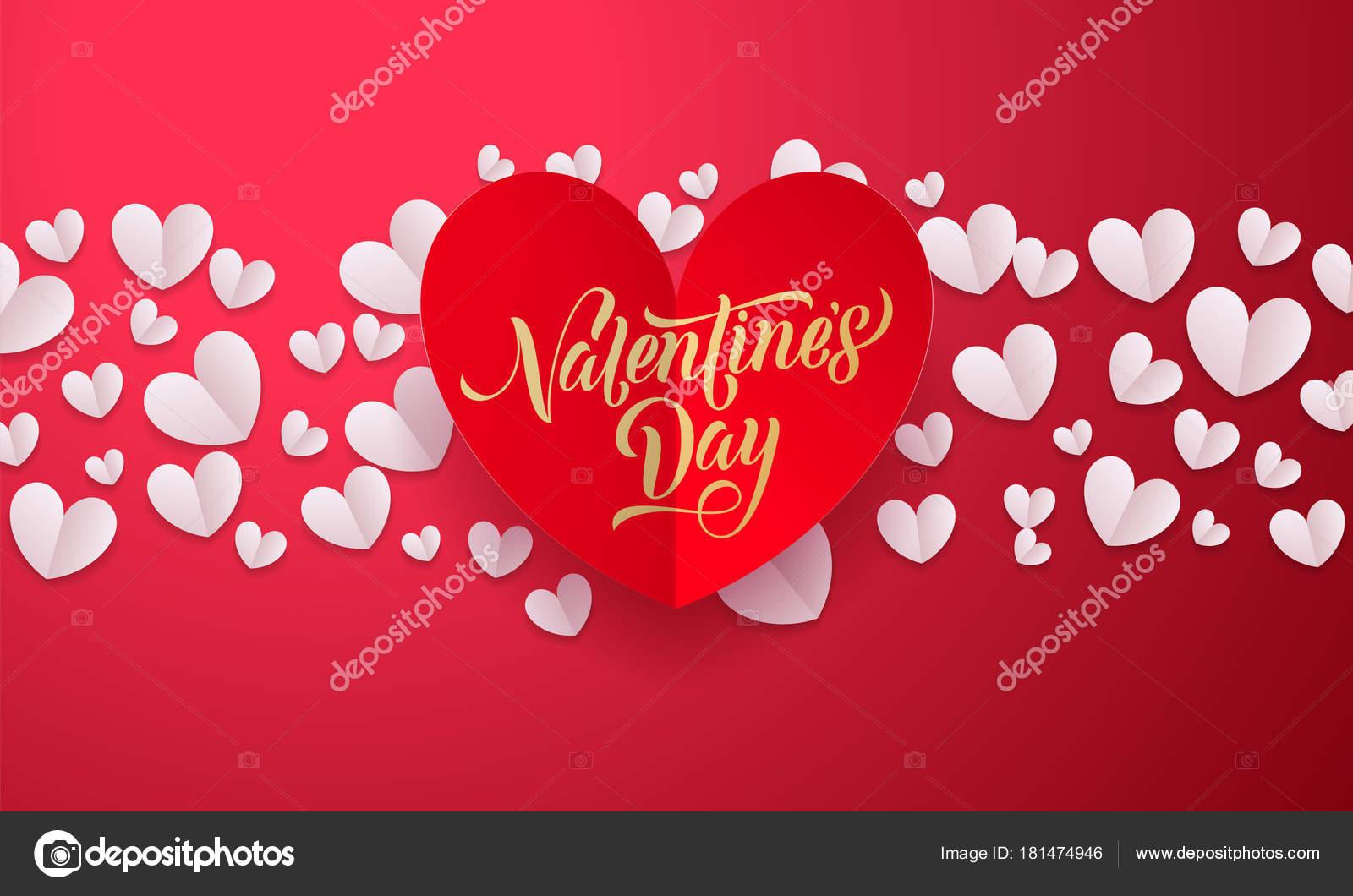 Fondo de San Valentín de vectores con papel rojo romántico corte ...
