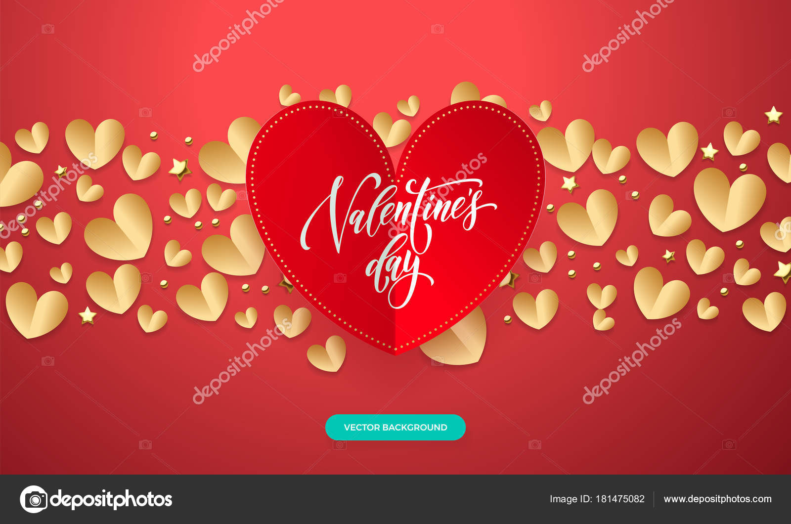 San Valentín de vectores de fondo romántico rojo y oro papel corte ...