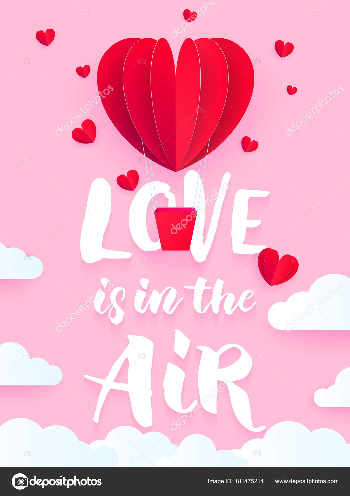 Valentine Heart Air Ballon For Valentine S Day Holiday Card Love Is