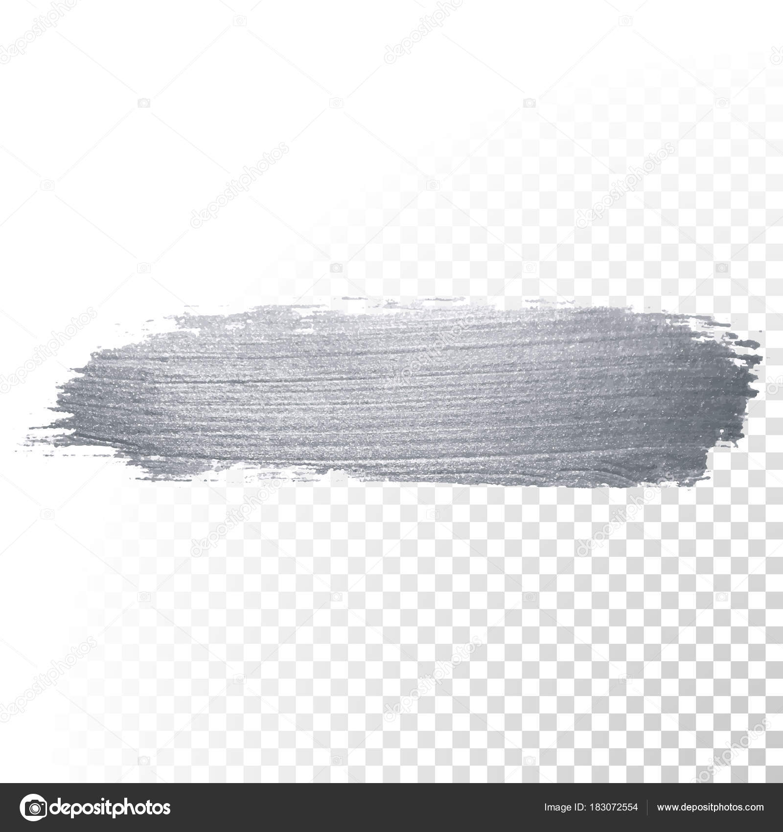 Silver Glitter Paint Brush Stroke Or Abstract Dab Smear With Smudge Texture On Transparent Background Vector Isolated Glittering And Sparkling