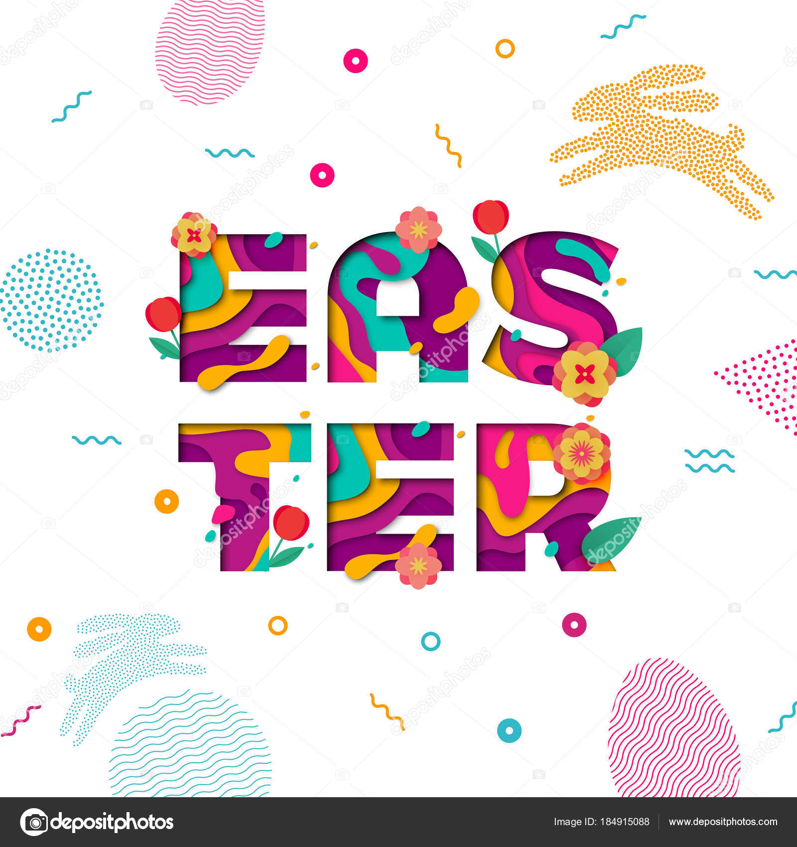 vector easter banner of paper cut text lettering with spring cherry