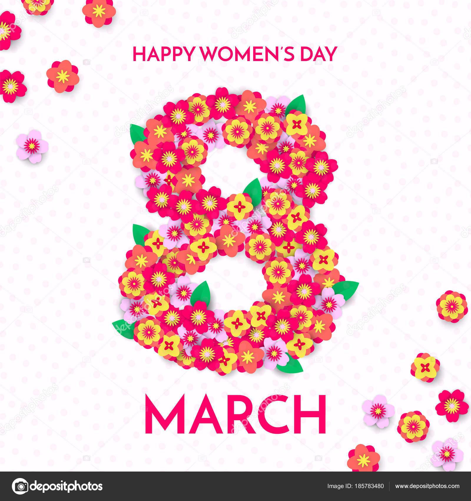 3 月 8 日国際女性の日カードのペーパー イラスト。幸せな女性の日
