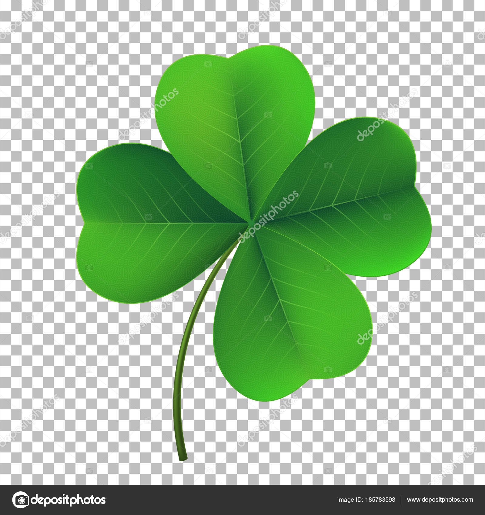 Vector Four Leaf Shamrock Clover Icon Lucky Fower Leafed Symbol Of