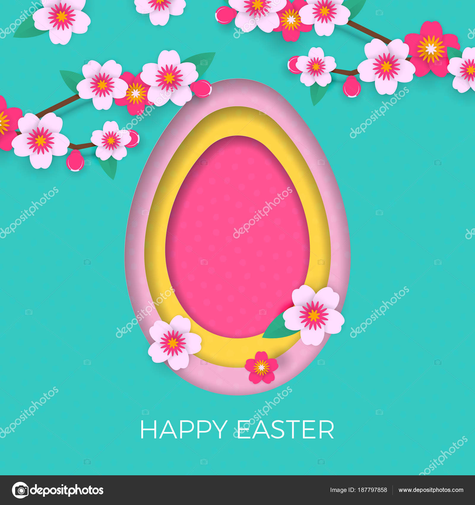 Happy Easter Greeting Card Of Egg Paper Cut And Spring Flowers For