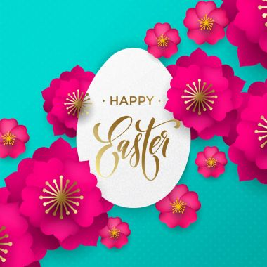 Happy Easter greeting card of egg paper cut and flowers pattern for Easter Hunt or He is Risen holiday celebration. Vector papercut floral design with gold text for Easter poster or web banner