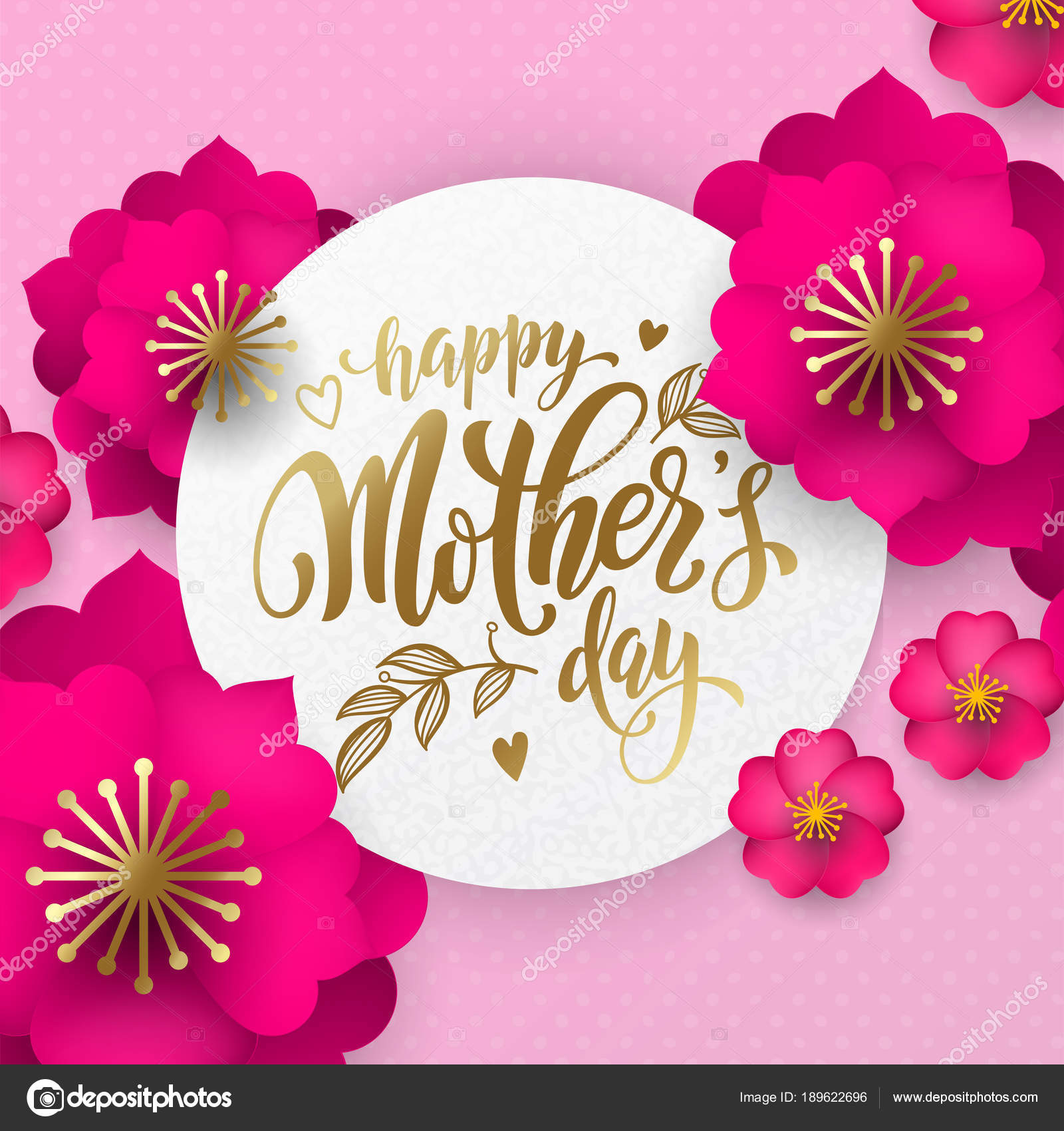 Mothers day greeting card of red flowers pattern and gold text mothers day greeting card of red flowers pattern and gold text vector floral pink and m4hsunfo