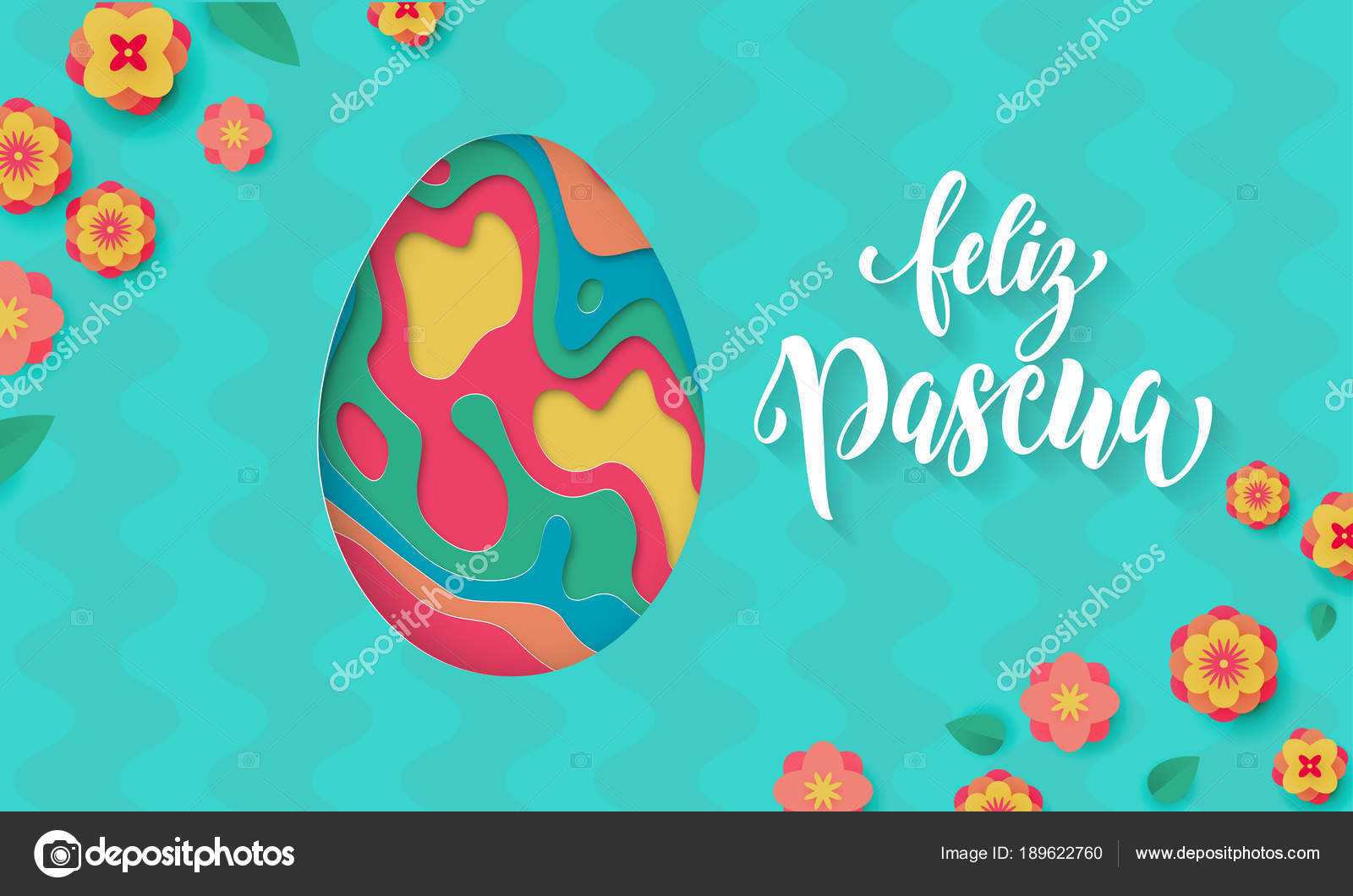 Spanish happy easter greeting card of egg paper cut spring flowers spanish happy easter greeting card of egg paper cut spring flowers pattern on floral background m4hsunfo