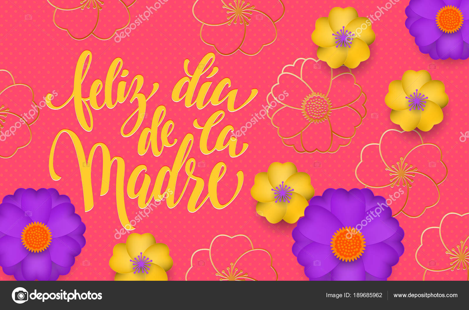 Mothers day in spanish with yellow blue flower in gold blooming mothers day in spanish with yellow blue flower in gold blooming pattern banner and spanish text feliz dia de la madre design template for seasonal mother izmirmasajfo
