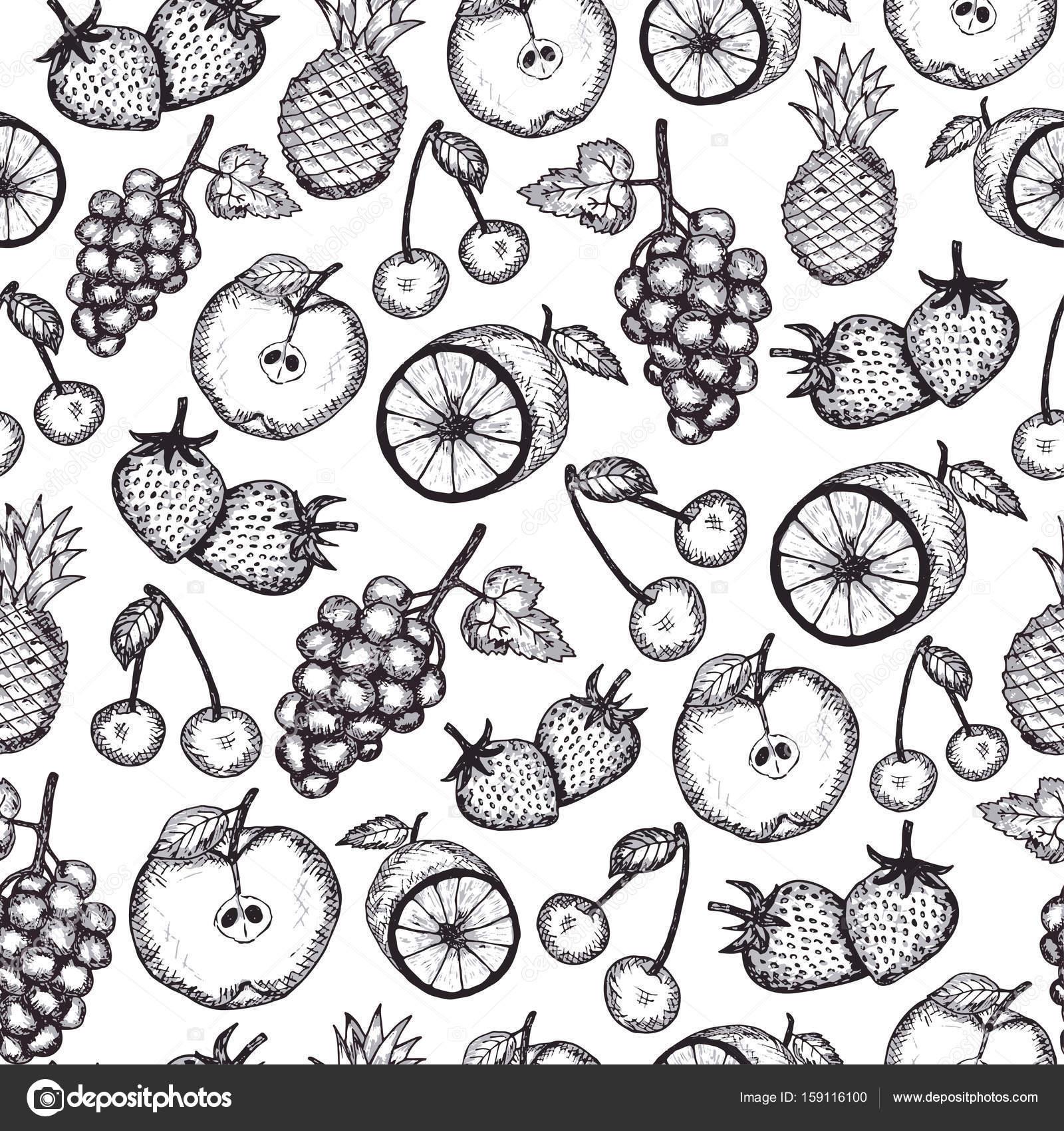 Hand Draw Fruits Seamless Pattern Stock Vector C Yasyazagoruiko