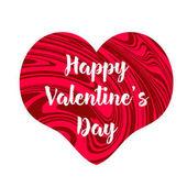fröhlicher Valentinstag-Text auf dem kreativen roten Herzen. weiße Rückseite