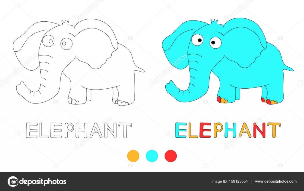 Página para colorear para los niños con elefante y mano dibujar ...