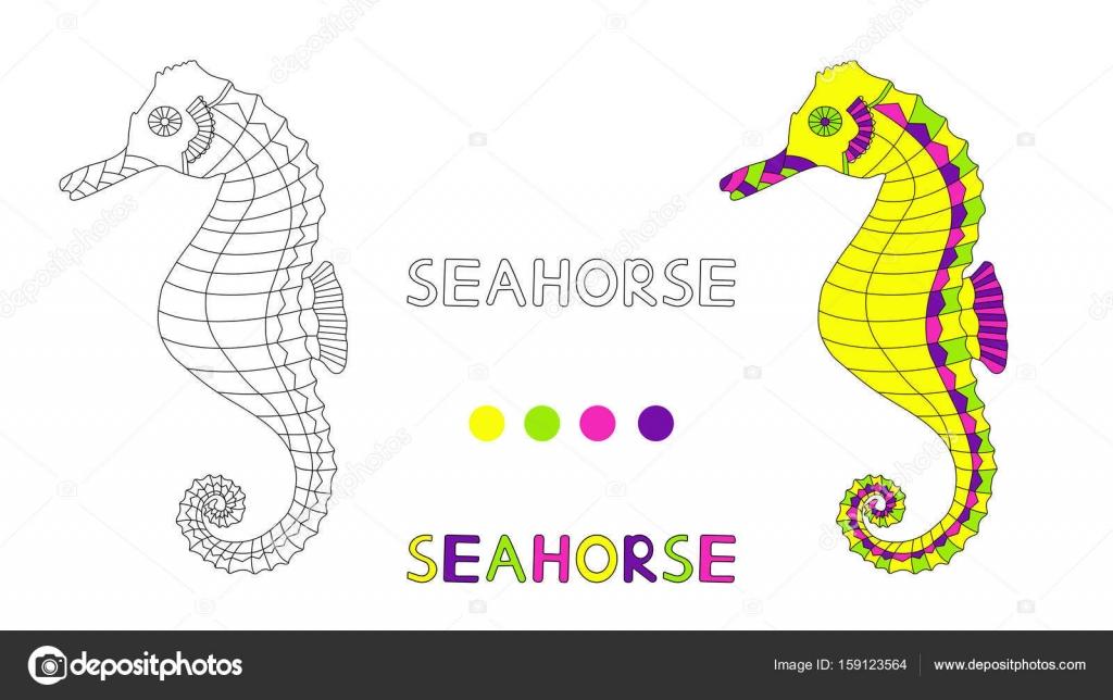 Deniz Atı Ve El Ile çocuklar Için Boyama Sayfası Harfler çizmek