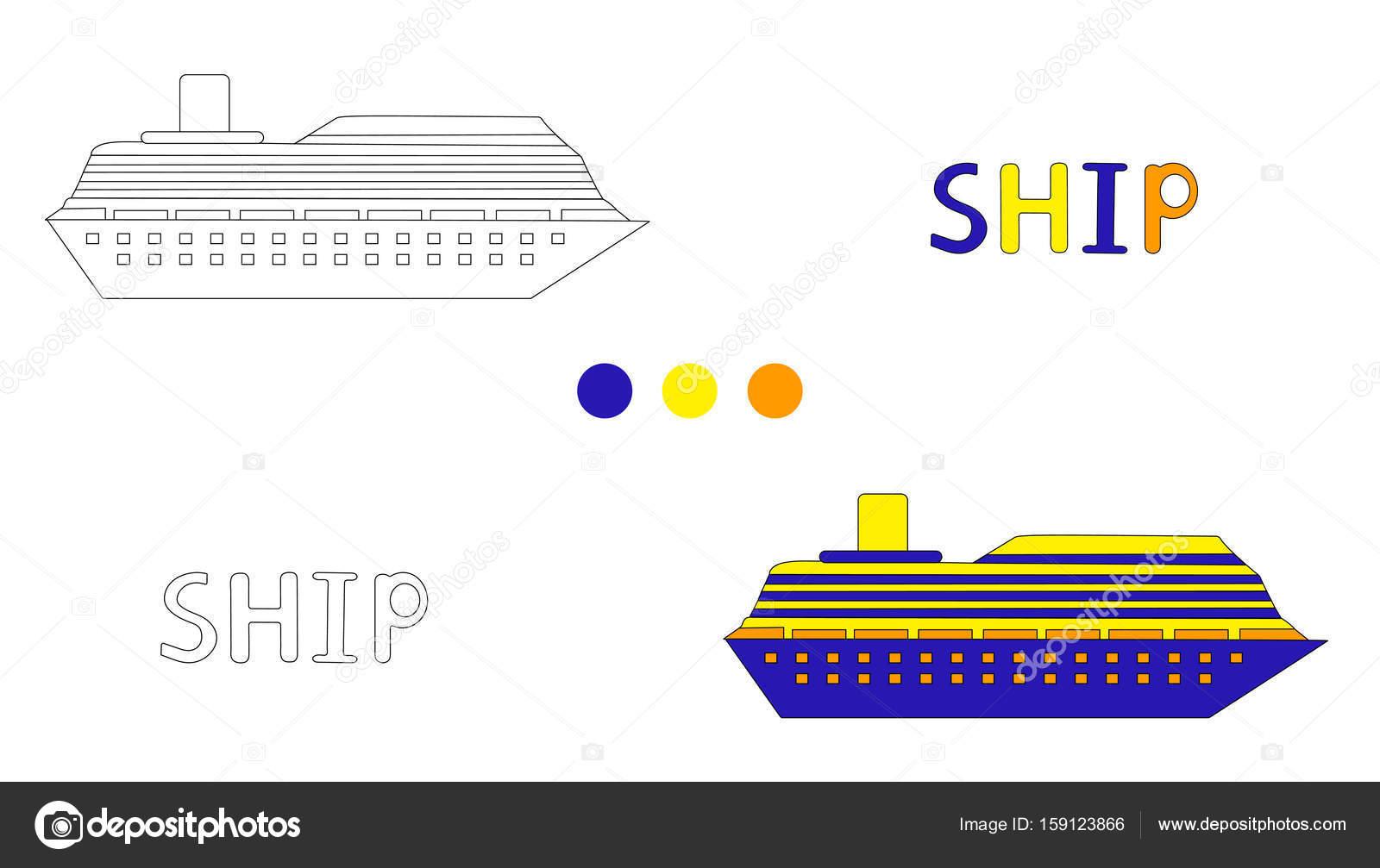 Malvorlagen Für Kinder Mit Schiff Und Hand Zeichnen Buchstaben