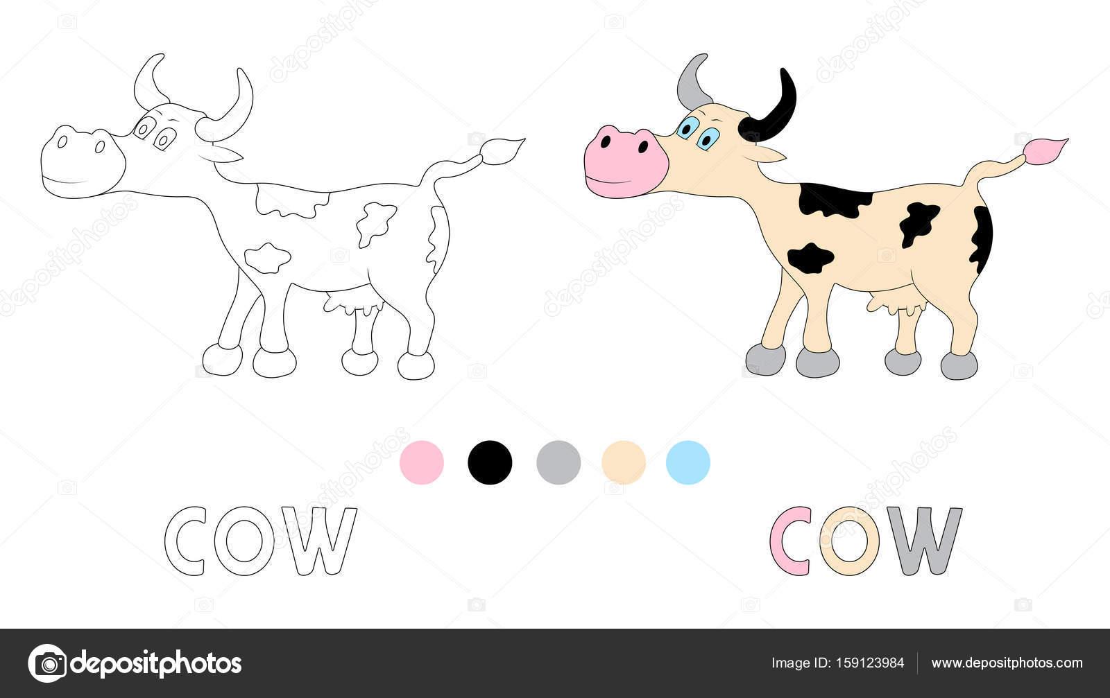 Página para colorear para los niños con vaca y mano dibujar Letras ...