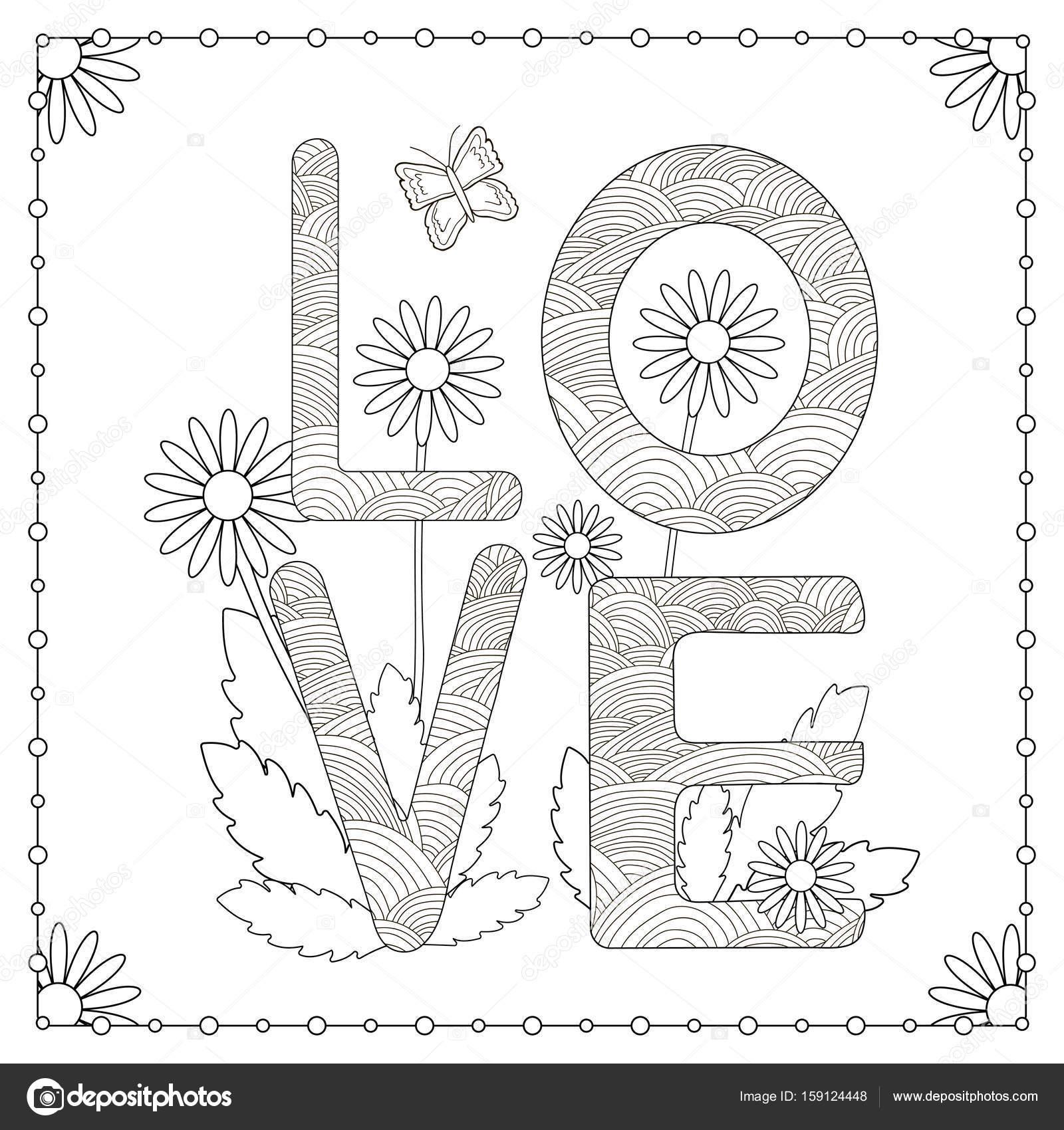 Página para colorear. Palabra de amor con flores y mariposa — Vector ...