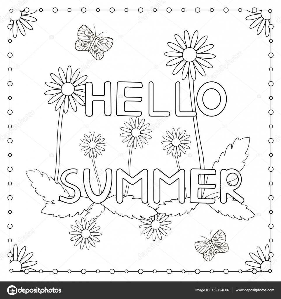 kleurplaat de uitdrukking quot hello summer quot met bloemen en