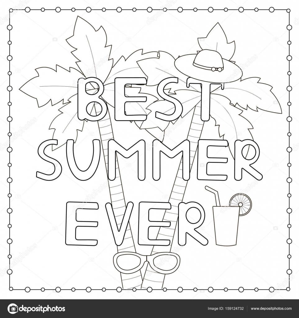 kleurplaat pagina met de getekende tekst quot beste zomer