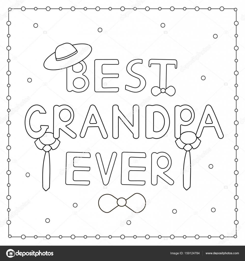 Kleurplaten Voor Opa.De Kleurplaat Met Hand Getrokken Tekst Beste Opa Ever Hoed