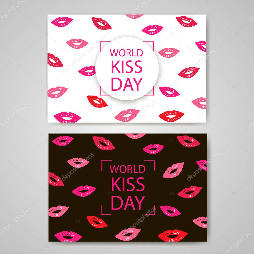 World Kiss Day. Colorful lips on the white and black backgrounds