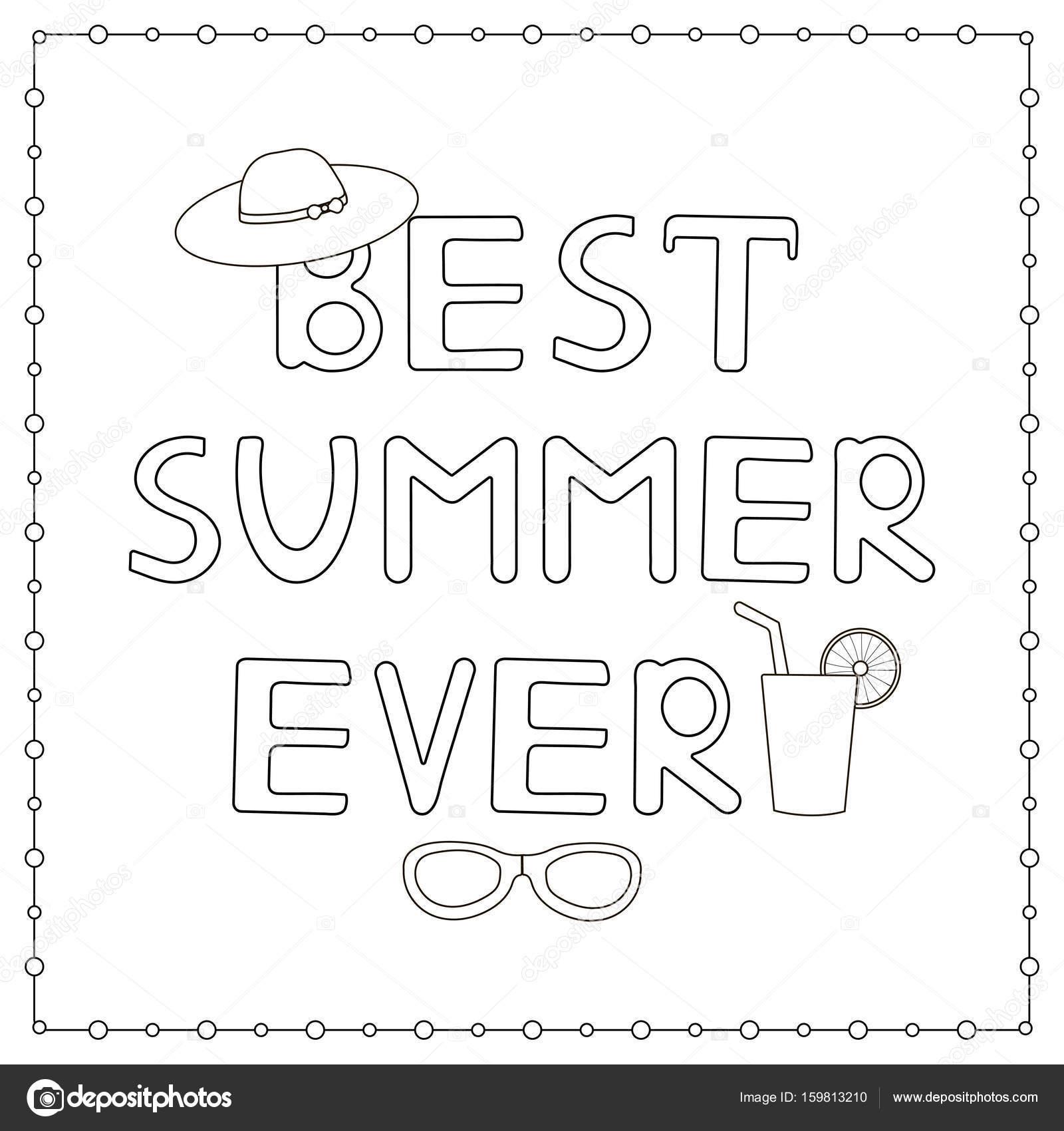 """malvorlage mit handgezeichnetem text """"bester sommer aller"""