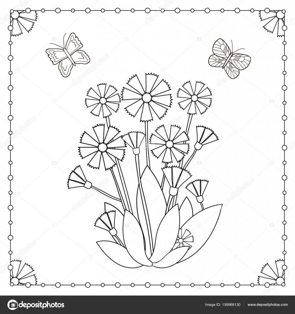 Malvorlagen Von Blumen Und Schmetterlinge Stockvektor