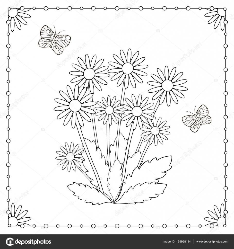 çiçek Ve Kelebek Boyama Sayfası Stok Vektör Yasyazagoruiko