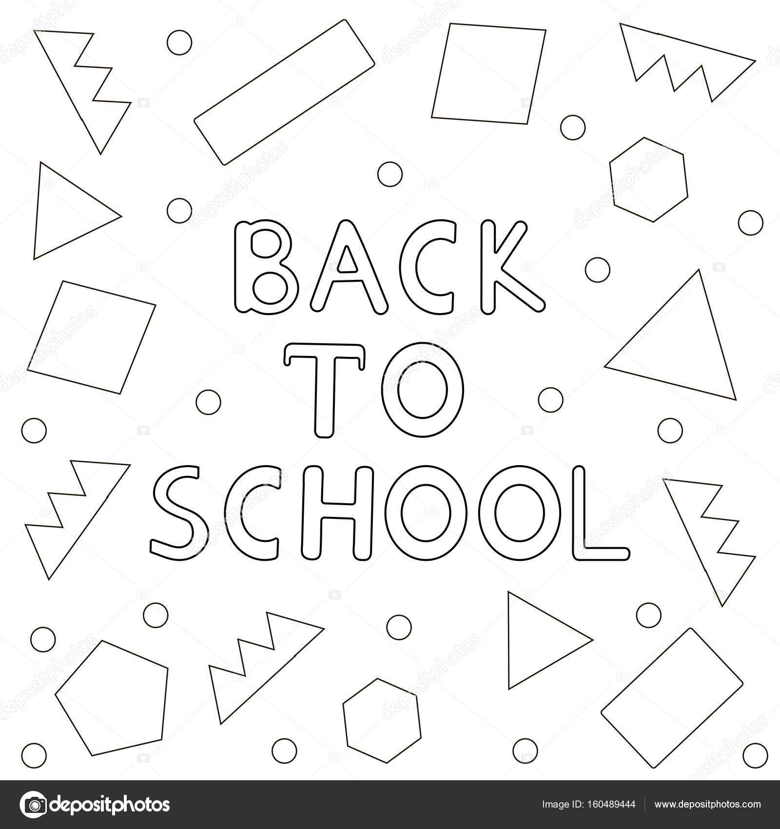 Zurück zu Schule Hintergrund-handgezeichnete Text, geometrische ...