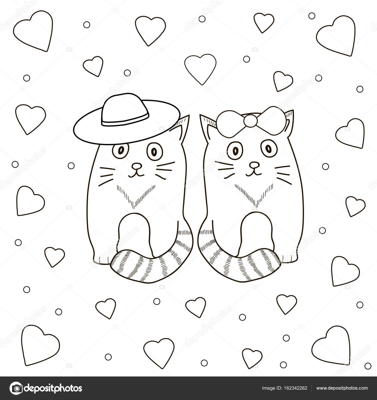 Página para colorear de gatos y corazones — Vector de stock ...