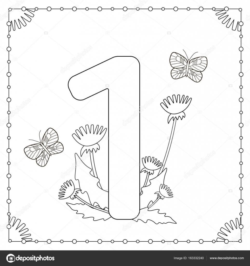 Uno con flores, hojas y mariposas. Página para colorear — Archivo ...