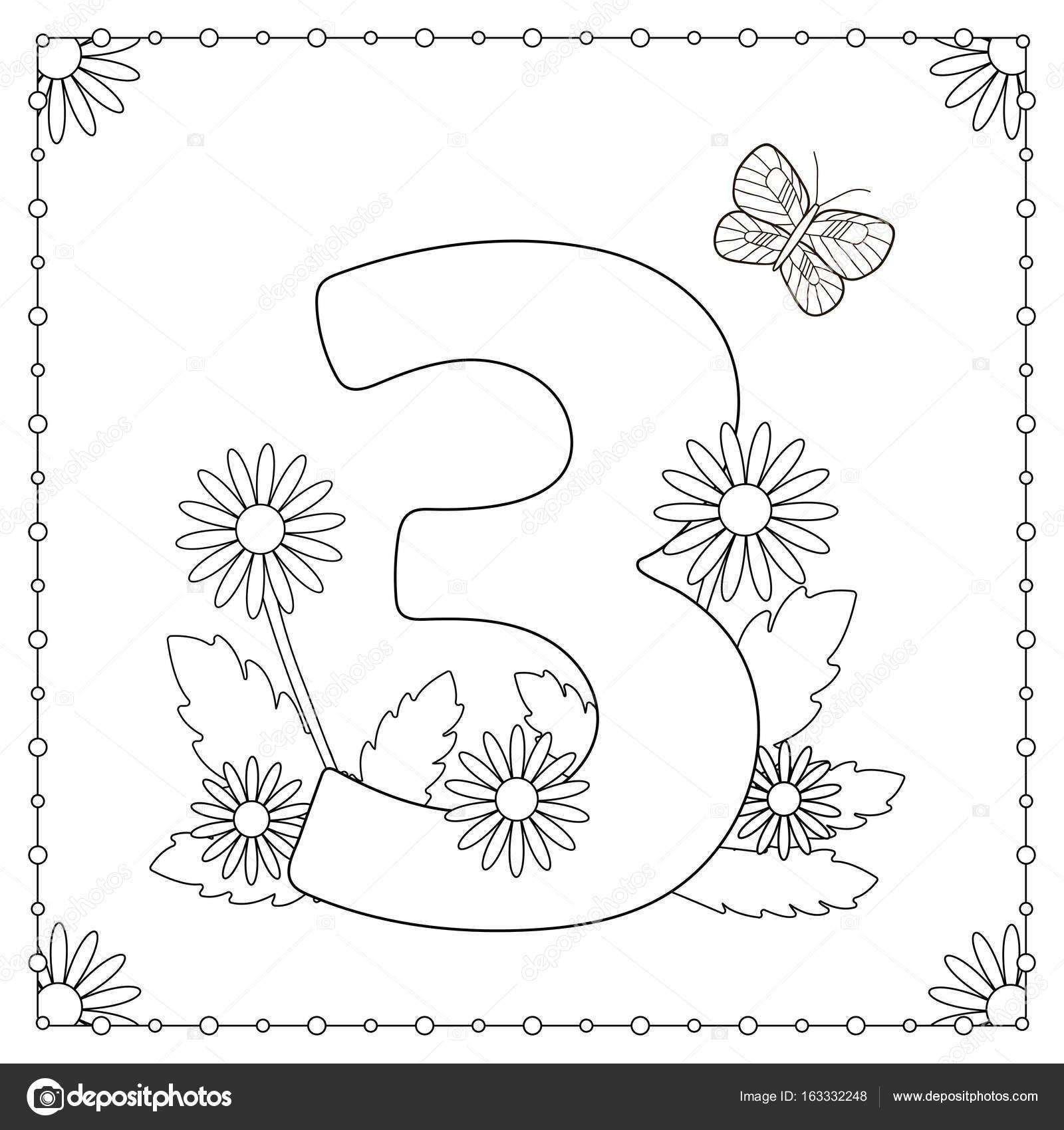 Rakam üç çiçek Yaprak Ve Kelebek Boyama Sayfası Stok Vektör