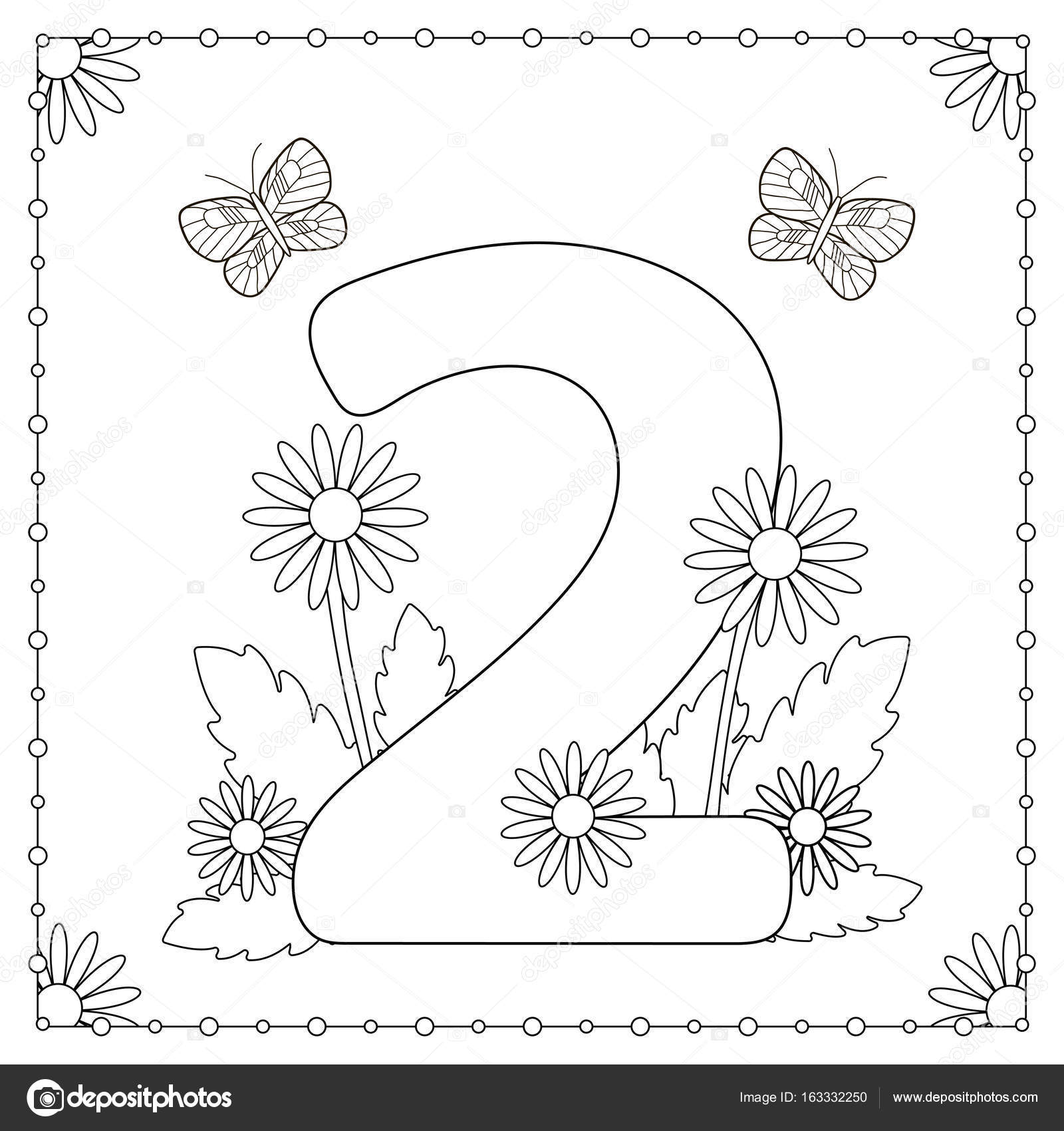 Número dos con flores, hojas y mariposas. Página para colorear ...