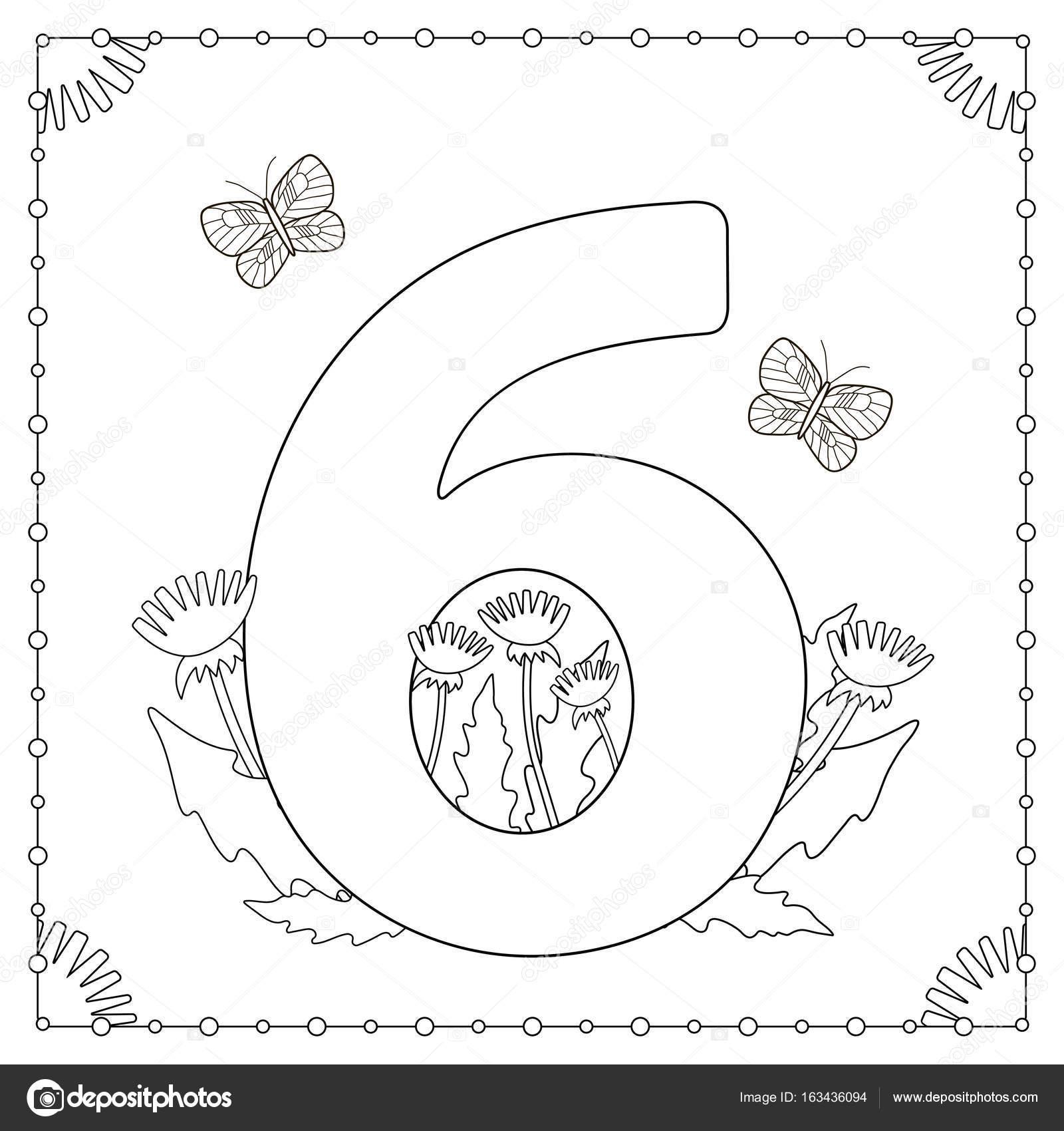 Rakam Altı çiçekli Yaprakları Ve Kelebekler Boyama Sayfası Stok