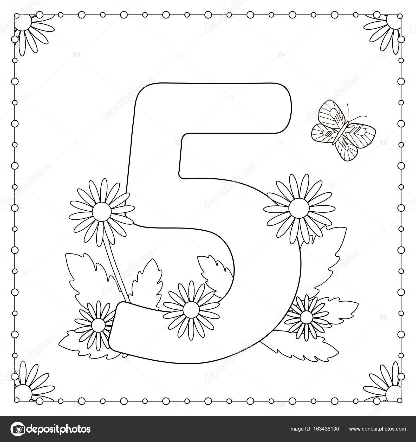 Número cinco con flores, hojas y mariposa — Archivo Imágenes ...