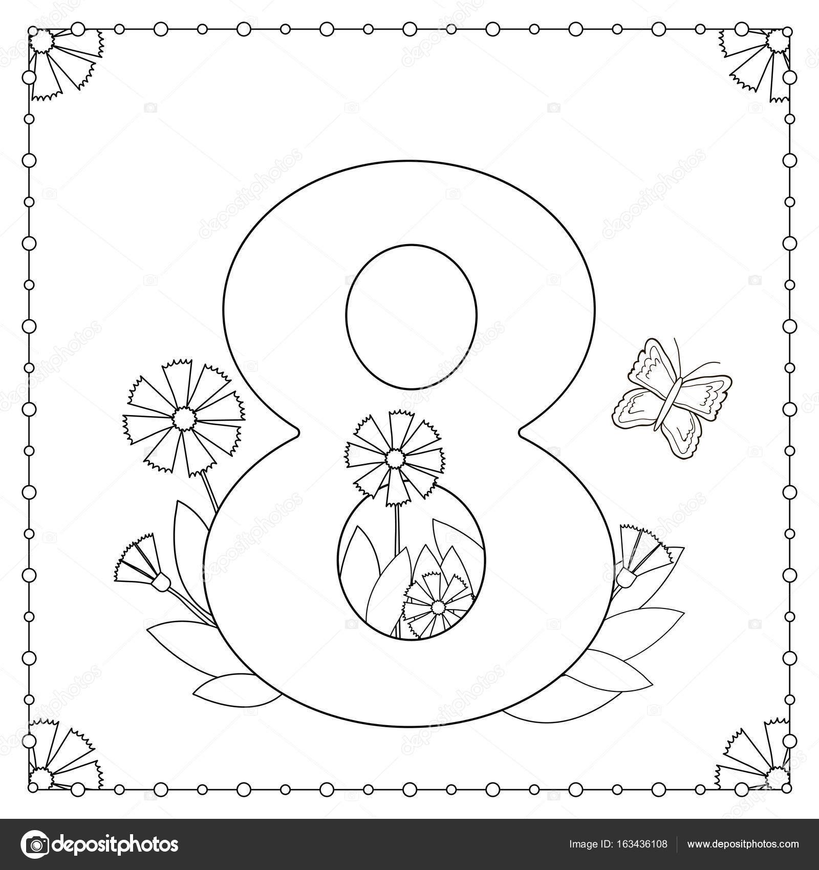 Número ocho con flores, hojas y mariposas. Página para colorear ...