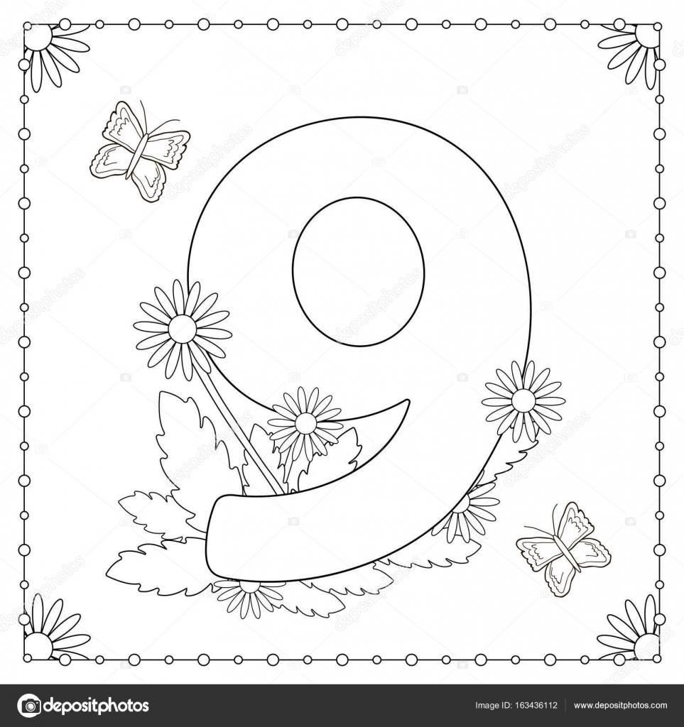Rakam 9 çiçekli Yaprakları Ve Kelebekler Boyama Sayfası Stok