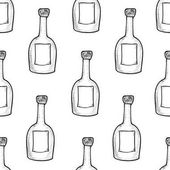 Seamless pattern from the hand drawn bottles.