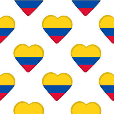 Seamless pattern from the hearts with flag of Colombia.