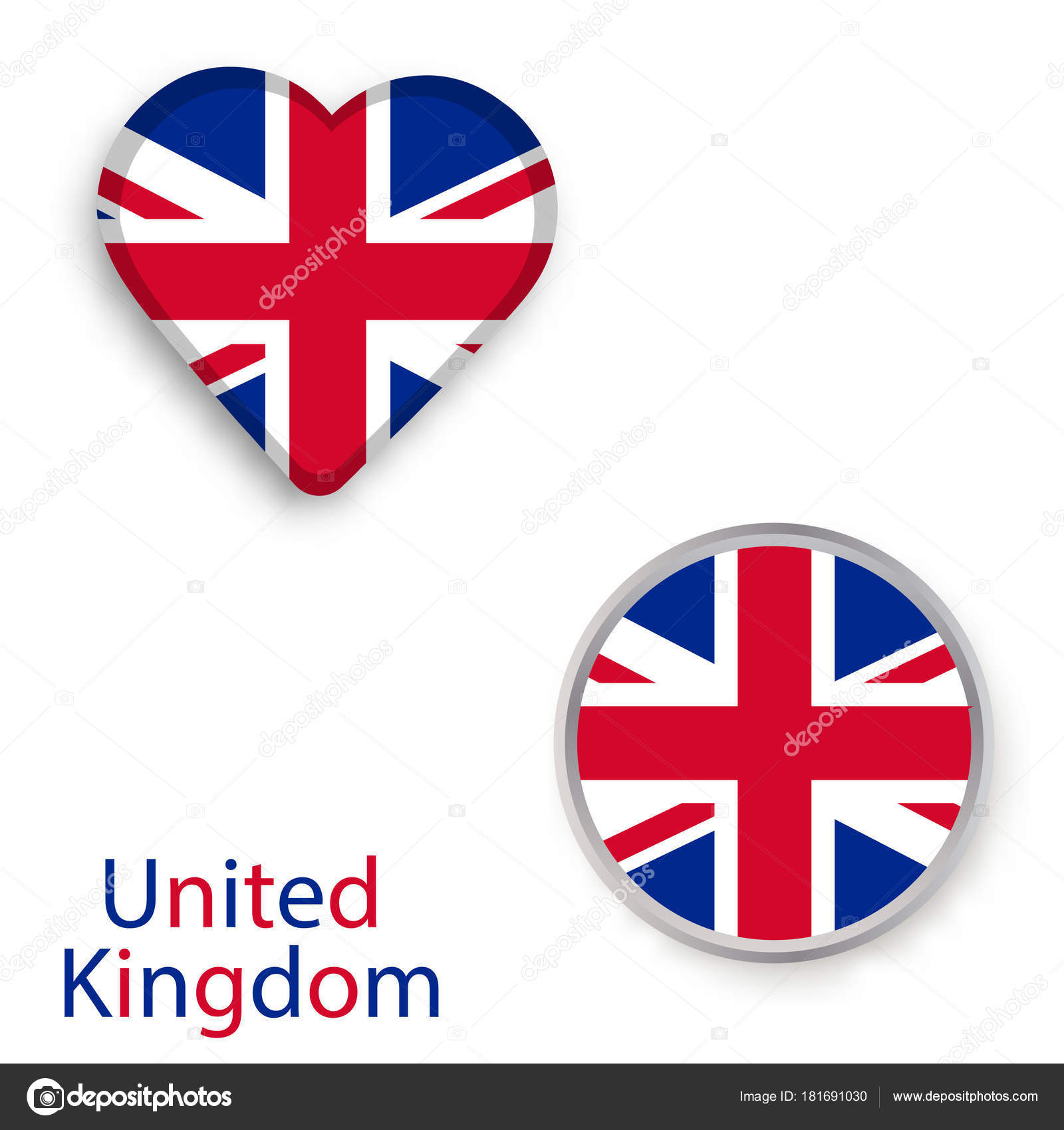 Heart And Circle Symbols With Flag Of The United Kingdom Stock