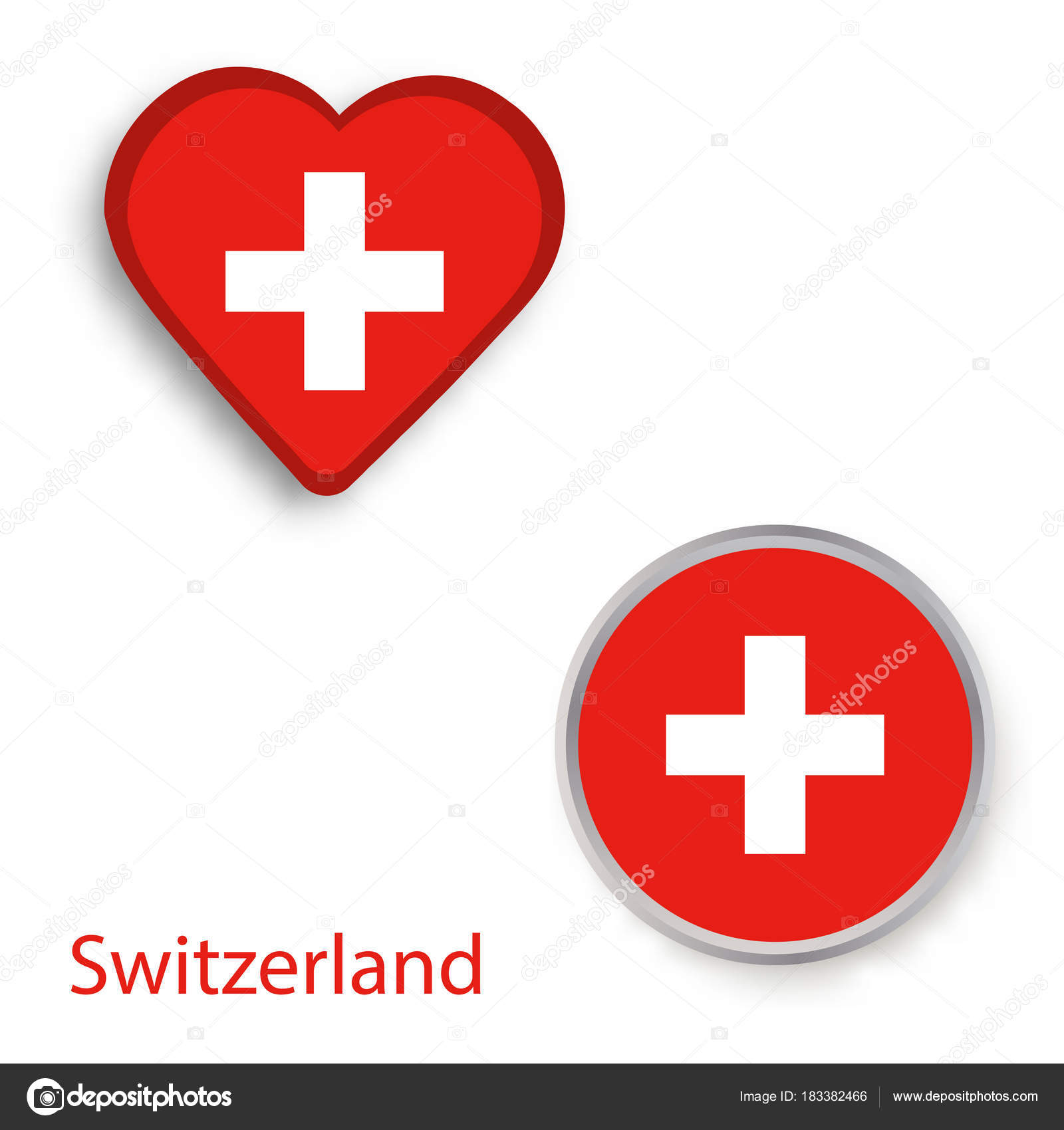 Heart And Circle Symbols With Flag Of Switzerland Stock Vector