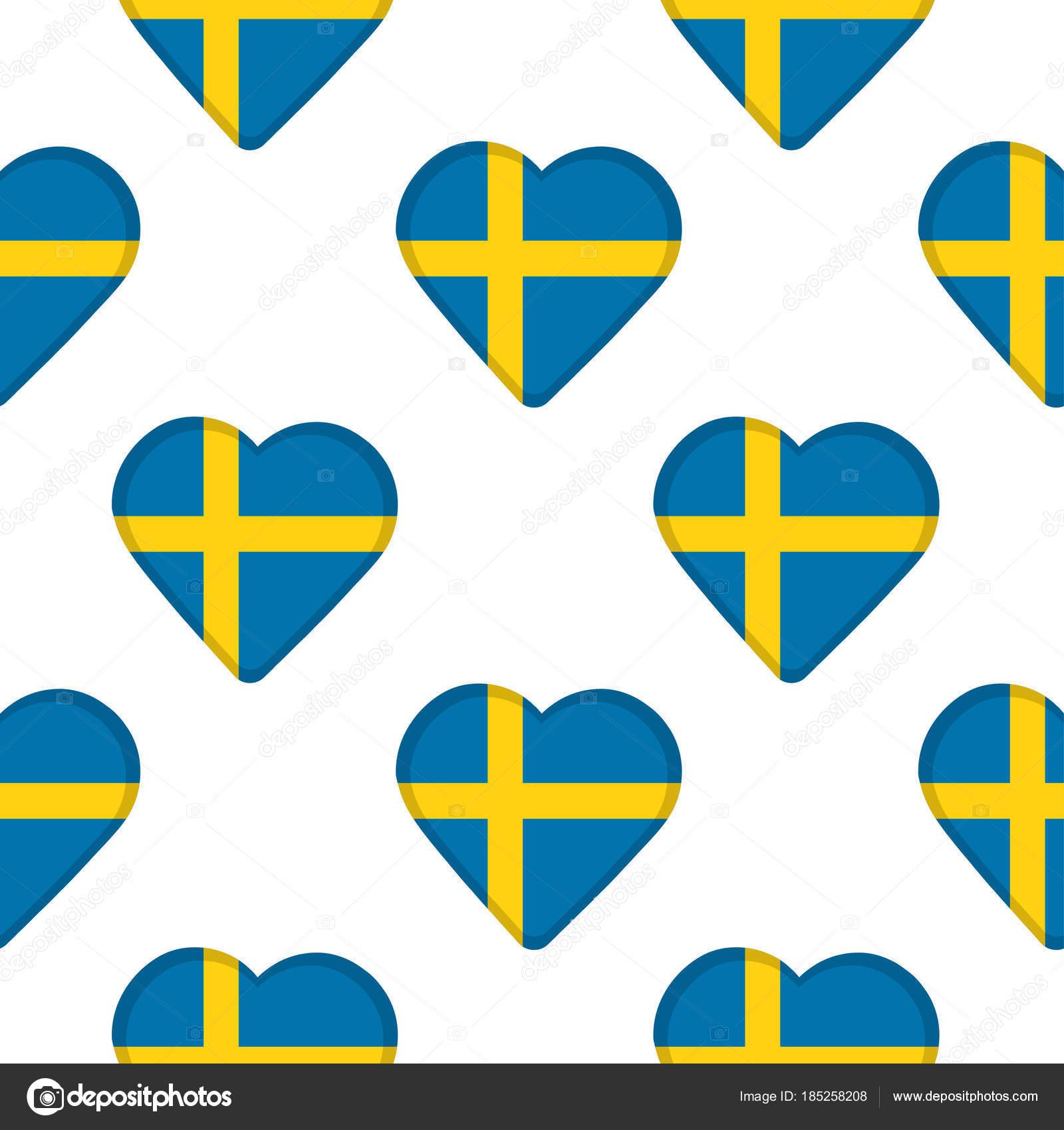Patrón sin fisuras de los corazones con la bandera de Suecia ...