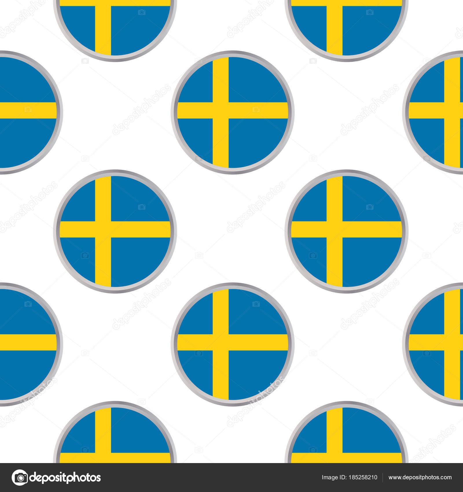 Patrón sin fisuras de los círculos con la bandera de Suecia ...