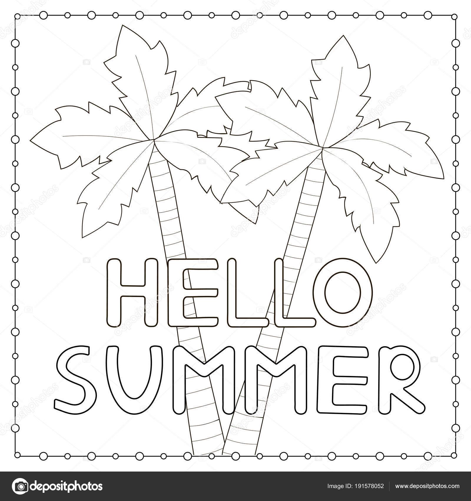 kleurplaat pagina met getrokken tekst hello zomer en