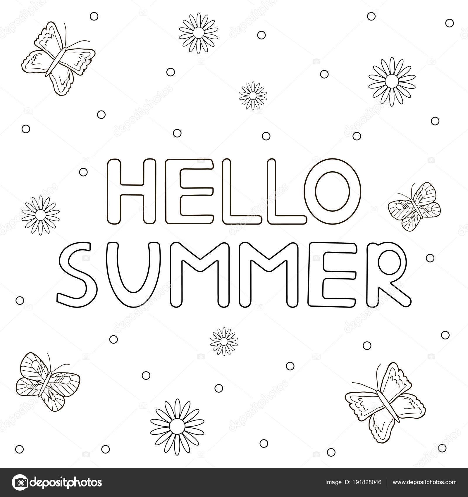 Dibujado a mano texto Hola verano, flores y mariposas. Para colorear ...