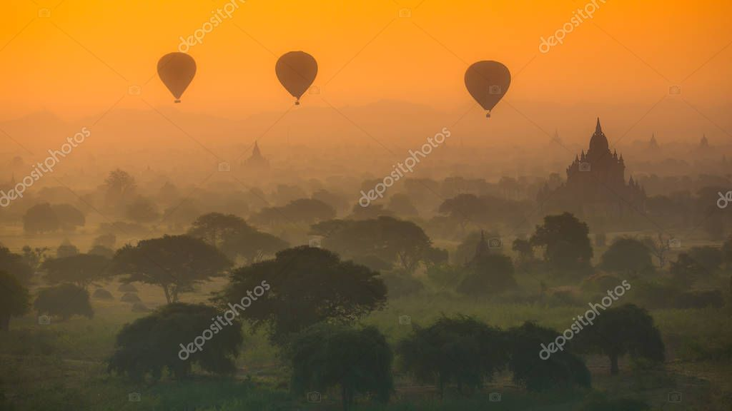 Hot air balloons flying  in Myanmar