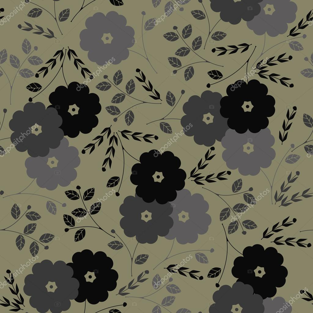 Autumn seamless pattern with flowers and plants