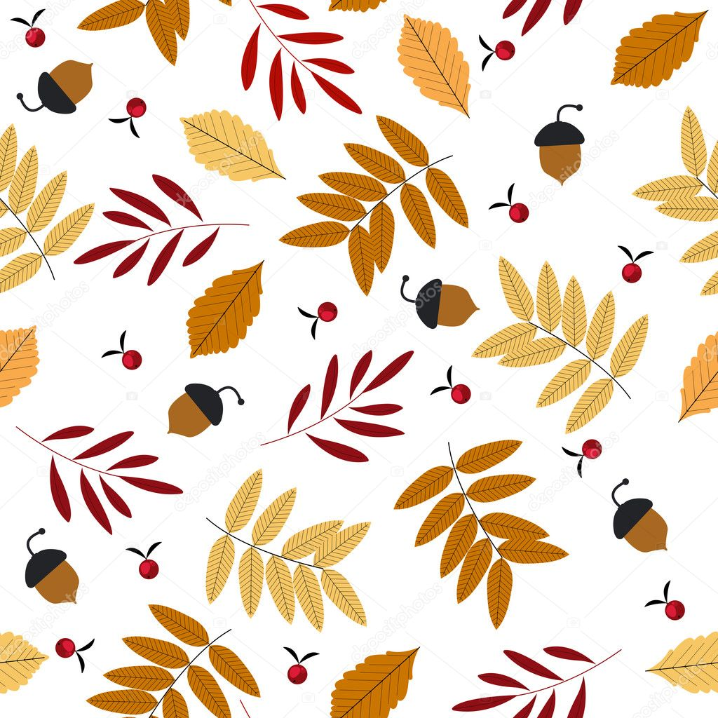 Autumn seamless pattern with leaves, acorns and rowans