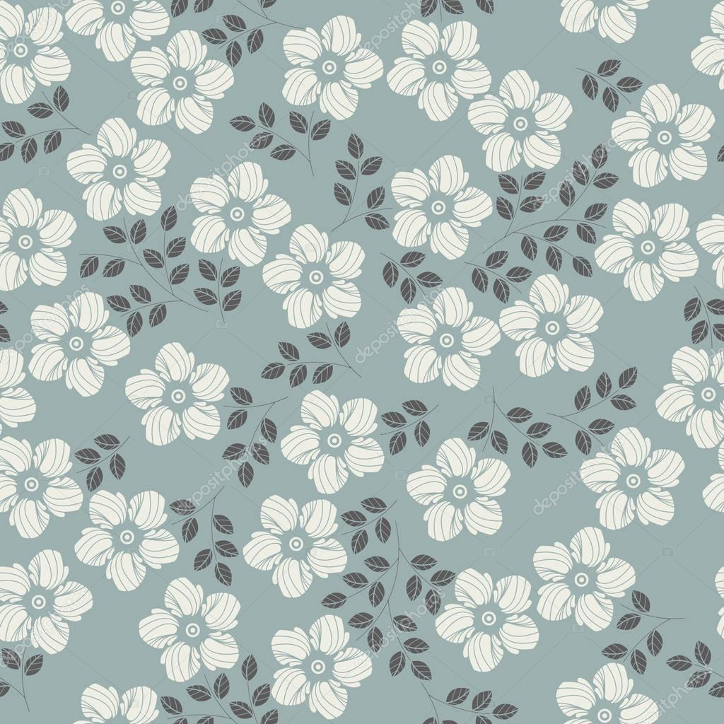 Elegant seamless pattern with flowers and leaves